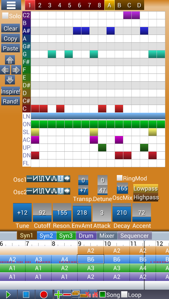 Screenshot of synth